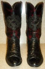 LUCCHESE OSTRICH LEATHER OXBLOOD BURGUNDY EXOTIC WESTERN COWBOY BOOTS-Men 8.5 D