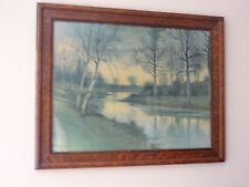 Antique Framed Picture Country Scene With Creek & Trees Quarter Sawn Oak Frame