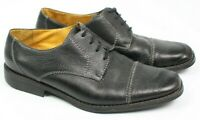 Sandro Moscoloni Mens 10 D Soft Black Pebbled Leather Oxford Cap Toe Dress Shoes