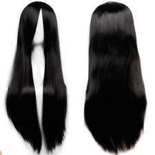 Black 80cm Women Long Straight Hair Full Wig Fashion Costume Party Anime Cosplay