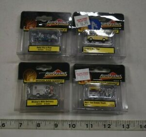 Lot 9-229 * N Scale 4 x Assorted Pkgs. Woodland Scenics Painted Figures/Vehicles