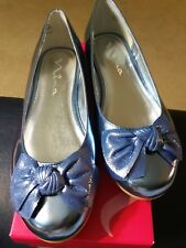 NEW Nina Girls 5 Kaytelyn Ballet Flat Blue Mirror Metalic Little Kid (4-8 Years)