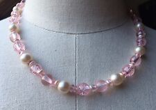 Pretty Short Pink Glitter Necklace/Faux Pearl/Kids/Girls/Dress Up/Plastic