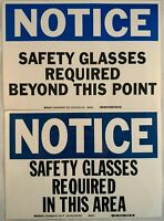 """Lot (2) NOTICE Safety Glasses Required OHSA Brady Sign Decal 10"""" x 7"""" Heavy Duty"""