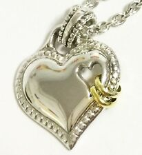 "SCOTT KAY 18"" 10g Silver Chain Hearts 14k Gold Rings Pendant Necklace Women NEW"