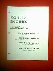 KOHLER ENGINE MODELS K301S PARTS MANUAL MID 60'S
