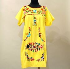 VTG OAXACAN MEXICAN Yellow LA MORENITA Hand Embroidered Floral Boho Hippie Dress