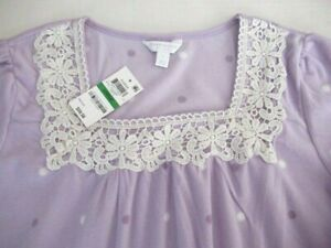 Charter Club Fleece Nightgown Large  XL Long Sleeve Gown Lavender Lilac NWT