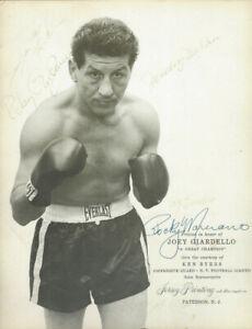 Rocky Marciano Sugar Ray Robinson, Graziano   autographed photo JSA Certified