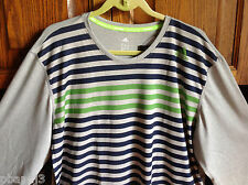 ADIDAS 2XL Climate Performance Long Sleeved Striped Top Shirt