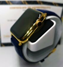 24ct Gold Plated 42MM Apple Watch 24ct Blue Genuine Leather Band 24K