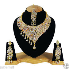 Bollywood Ethnic Designer Party Wear Gold Plated Necklace Set Jewelry Earrings