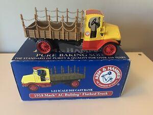 2003 ARM & HAMMER 1918 MACK AC Bulldog Flatbed Truck 1:33 Scale Die Cast Bank
