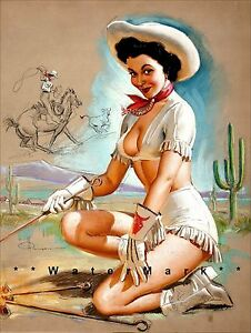 Pin Up Cowgirl Poster Print Risque Vintage Retro Style Art  Free US Post