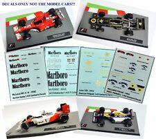 Set of 4 DECALS for the Formula 1 Car Collections WILLIAMS FERRARI LOTUS McLAREN