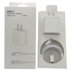 PD 20W Power Adapter Fast Charge USB-C Cable 3ft Lot For iPhone 11 12 Pro Max XR