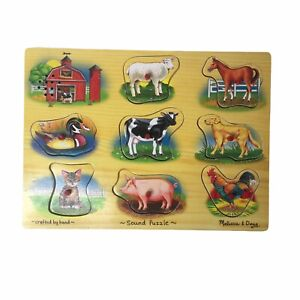 Melissa & Doug Hand Crafted Farm Sound Puzzle 8 Realistic Animal Sounds Age 2+
