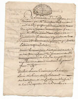 1711 Louis XIV royal inspector manuscript document signature authentic Stamp