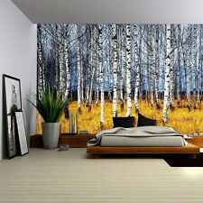 Landscape Mural of a Birch Tree Forest - Wall Mural, Removable Sticker- 100x144