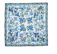 "ECHO ""Flight of Fancy"" Square 100% Silk Scarf Flowers Birds Stunning Art Colors"