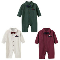 Newborn Infant Baby Boys Solid Gentleman Striped Romper Jumpsuit Outfits Costume