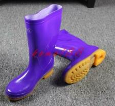 Womens Rubber Mid calf Rainboots antiskid waterproof pull on casual boots shoes