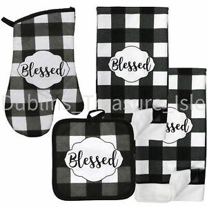 Black White Plaid Buffalo Blessed Oven Mitt Pot Holder Towels Set Kitchen Decor