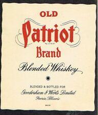 Unused 1940s ILLINOIS Peoria Gooderham Worts OLD PATRIOT WHISKEY large Label