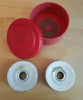 2 Vintage Metal ABU Closed Face Spinning Reel Spare Spools In Original Holder