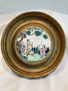 Framed Antique Chinese Enamled Cloisonné Chinoiserie Plaque,lid