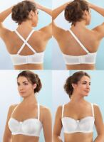 NEW CONVERTIBLE (Wear 5 Ways!) Bra msrp $44 STRAPLESS Underwire White CLEARANCE!