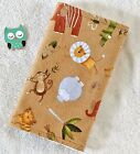 Handcrafted, Flannel Jungle Animal Print & White Minky Bubble, Baby Burp Cloth