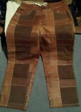 DAVOUCCI BROWN FRONT PATCHWORK LEATHER PANTS MOTORCYCLE RODEO RETAIL 300$ Migos