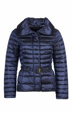 Barbour Tartan Navy Luxe Borthwick Belted Quilted Jacket UK 16