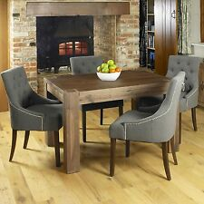 Shiro walnut dark wood modern furniture dining table and four chairs set