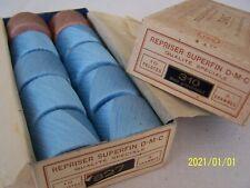 Ancienne boite de fils à repriser super fin. DMC. 2 couleurs. Bleu et beige. N°6