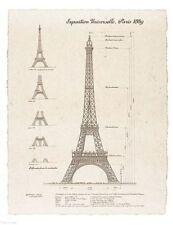 ART PRINT Exposition, Paris 1889 Eiffel Tower 13 1/2x10 1/2 Yves Poinsot