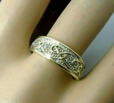 9ct Carat Yellow Gold Hallmarked Diamond Celtic Patterned Anniversary Size P