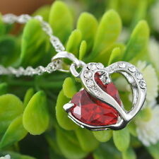 1PC Red Crystal Pendant Chain Double Heart Necklace Love Valentines Gift
