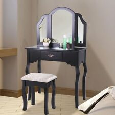 Black Vanity Wood Jewelry Makeup Dressing Table Stool Set Bedroom w/Drawers