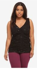 EUC Retro Pinup Torrid Black Sequined Ruched Lace Overlay Tank Top 0x (12)
