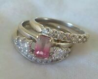 14K White Gold Watermelon Tourmaline Diamond Ring Set - 7.4 gms, Size 7, 1.10 ct