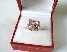 4.80 Ct. 'Bouquet of Amethyst'  Amethyst Solitaire & Diamond  10k Rose Gold Ring