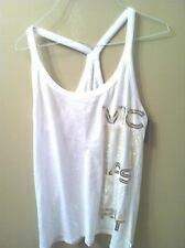VICTORIA'S SECRET Supermodel Essentials White and Gold Tank M NWT