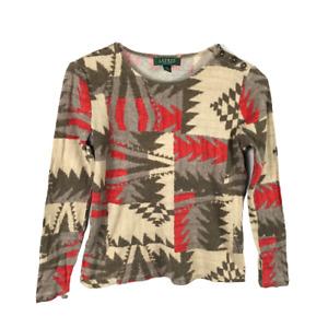 Lauren Ralph Lauren Aztec T-Shirt Size PM Multicolor Button Shoulder Long Sleeve