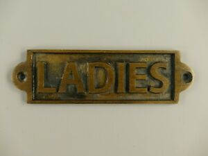 9977608 Messing brüniert Toilettenschild Ladies antik neu 16x5cm