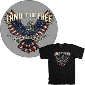 America T-Shirt USA Wappentier Detto Aquila Seal Stemma Bandiera 3201 Nero