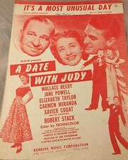 It's A Most Unusual Day A Date With Judy Elizabeth Taylor 1948 Sheet Music