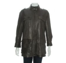 ARMANI Men's Gray Lambskin Leather Jacket, Size 44 M