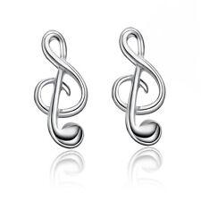 Elegant Music Tone Ear Studs Women's Silver Plated Earrings Jewelrys
